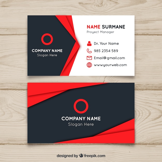 Red and black business card design Free Vector