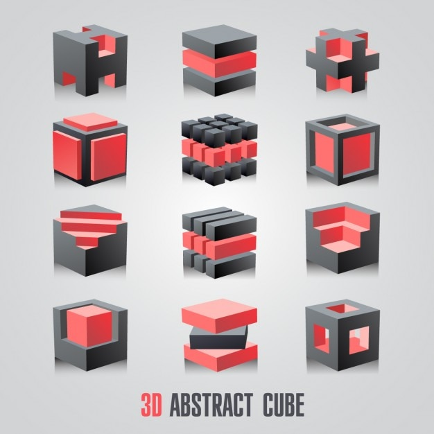 Red and black cubes collection Free Vector