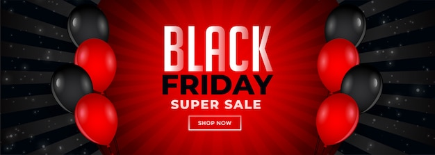 Red and black friday sale banner with balloons Free Vector