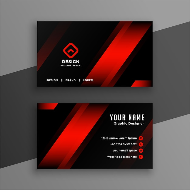 Red and black geometric business card design template Free Vector