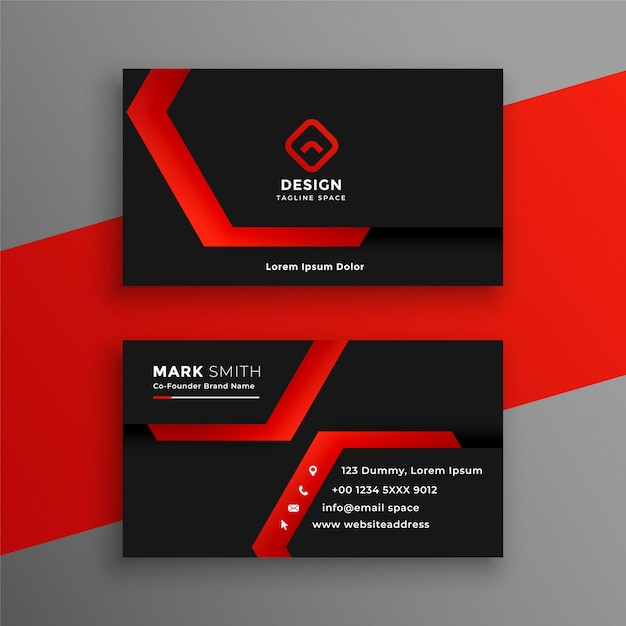Red and black geometric business card template design Free Vector
