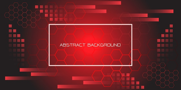 Red black geometric hexagon with white frame and text futuristic background. Premium Vector