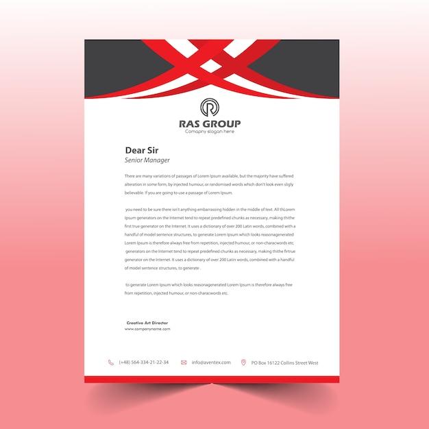Red & black letter head design Premium Vector