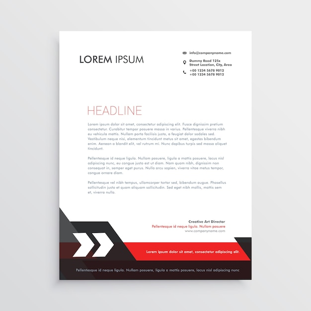 Red black letterhead template design Vector | Free Download