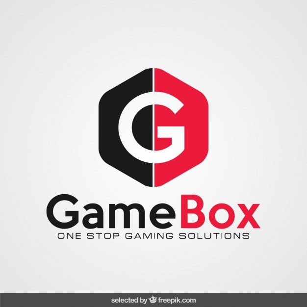 Red and black logo with initial Free Vector
