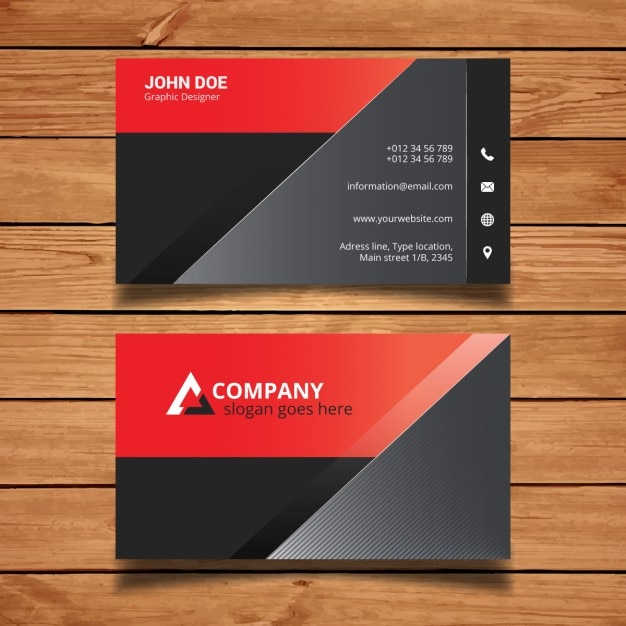 Red And Black Modern Business Card Template Vector