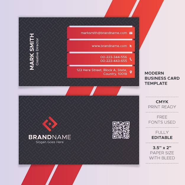 Red and black modern business card template Premium Vector