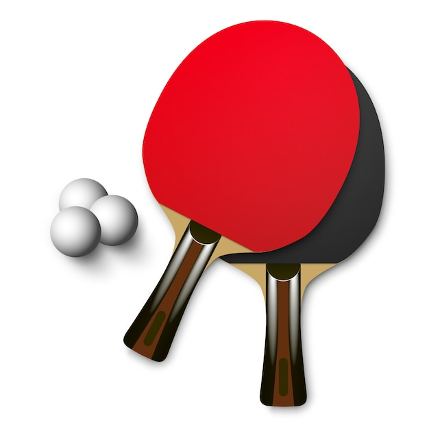 Red and black wooden table tennis rackets with balls. ping pong game Premium Vector