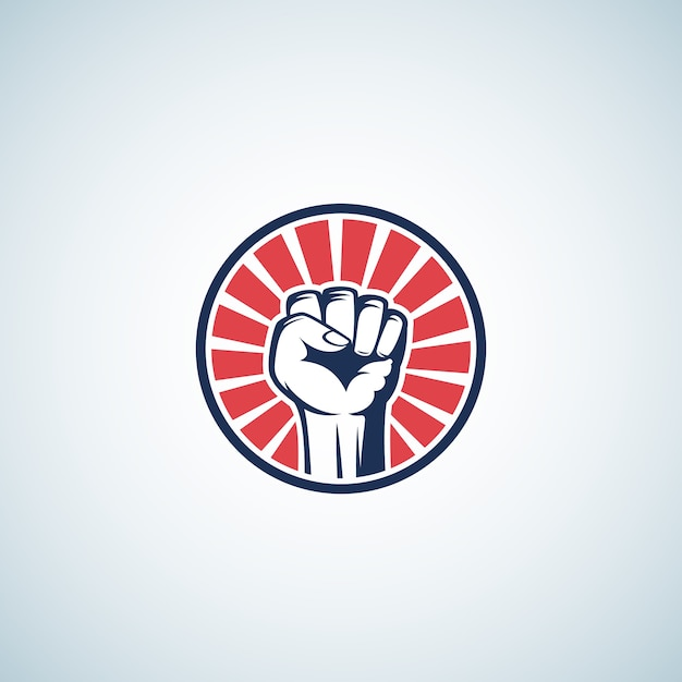 Red and blue activist rebellion fist symbol. abstract Free Vector