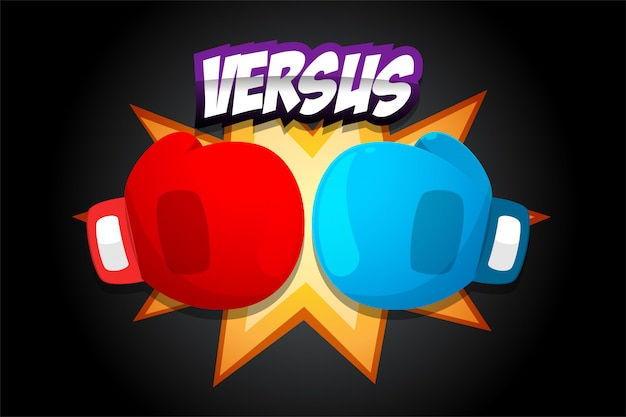 Red and blue boxing gloves on dark background Premium Vector