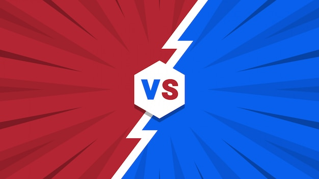 Red and blue comic style versus background Premium Vector