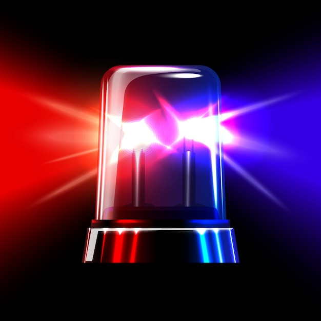 Red and blue emergency flashing siren. Premium Vector