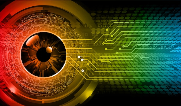 Red blue eye cyber circuit future technology concept background Premium Vector