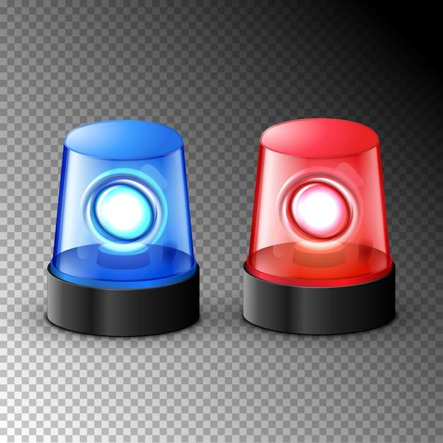 Red blue flashing police beacon alarm. police light siren emergency equipment. danger flash ambulance beacon Premium Vector