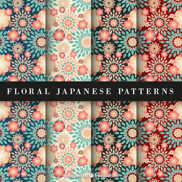 Red and blue floral japanese pattern Free Vector