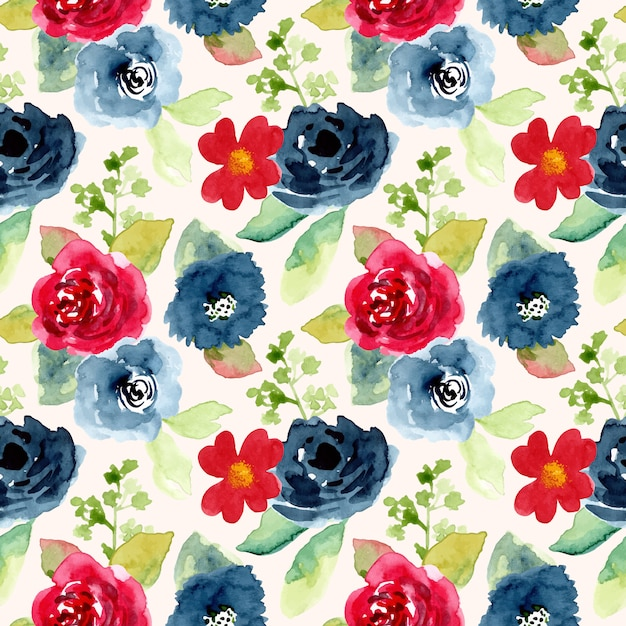 Red blue flower watercolor seamless pattern Premium Vector