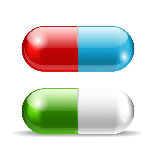 Pillole rosse blu e verdi di vettore sopra bianco Vettore gratuito