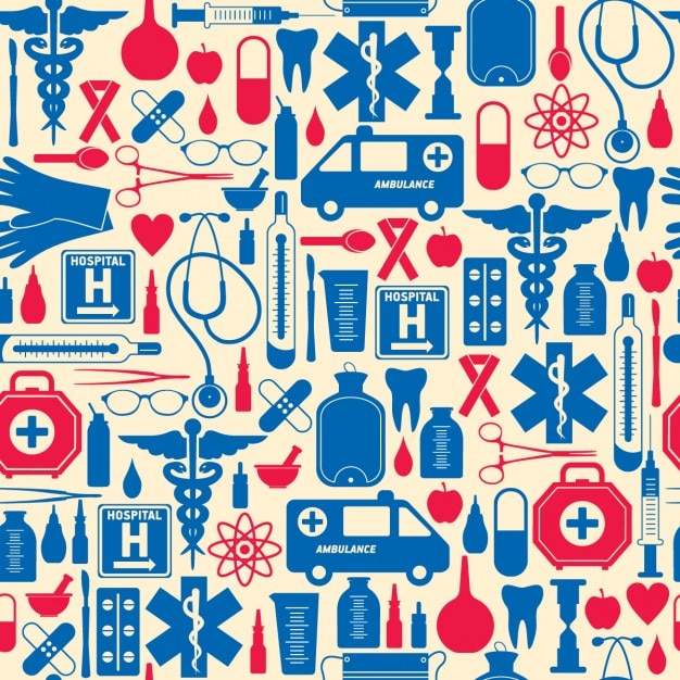 Red and blue medical pattern Free Vector