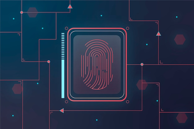 Red and blue neon fingerprint background Free Vector