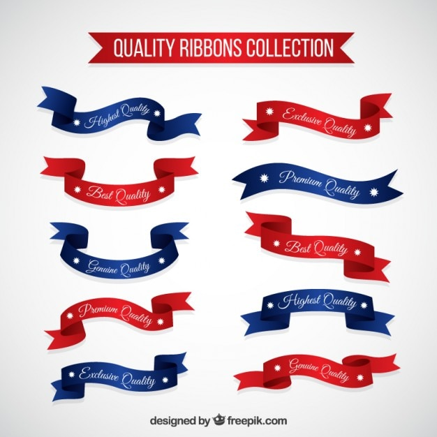 Red and blue quality products ribbons Free Vector