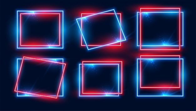 Red and blue rectangular neon frames set of six Free Vector