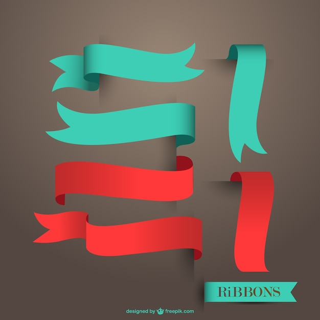 Red and blue ribbons Free Vector