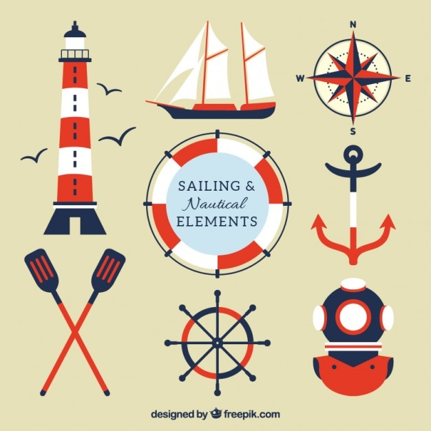 Red and blue sailing elements Premium Vector