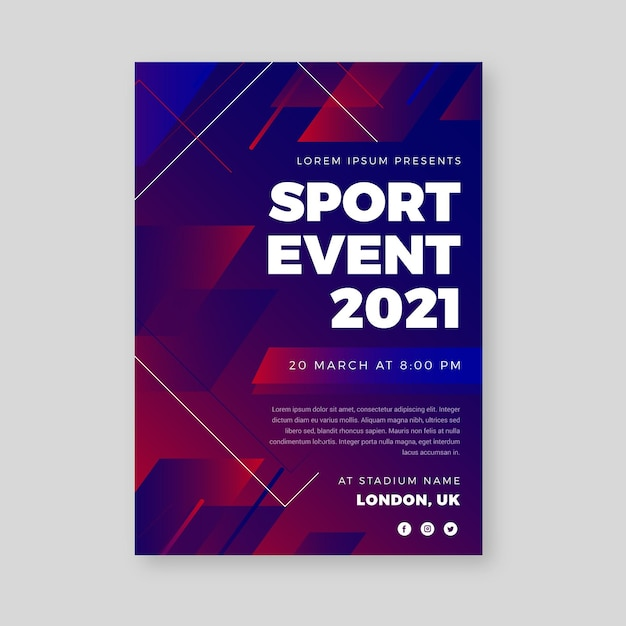 Red and blue sporting event poster template Free Vector