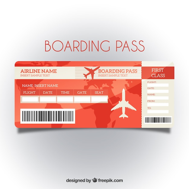 Red Boarding Pass Template With Map Background Vector | Free Download