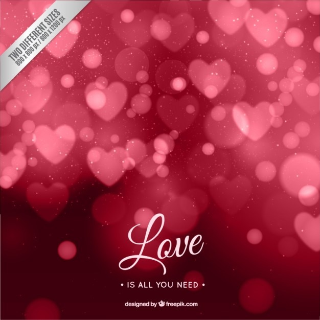 Red bokeh valentine background Free Vector