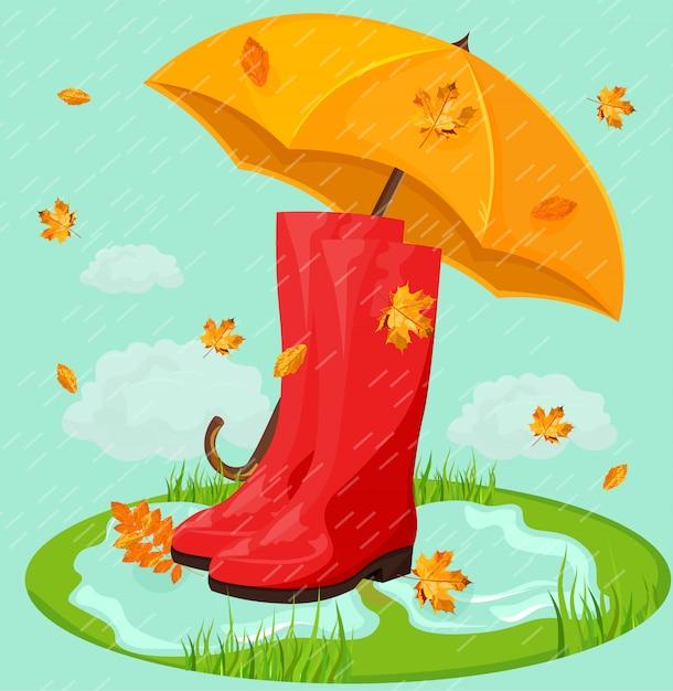 Red boots in rain and umbrella Premium Vector