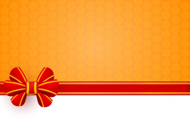 Red bow gift Premium Vector