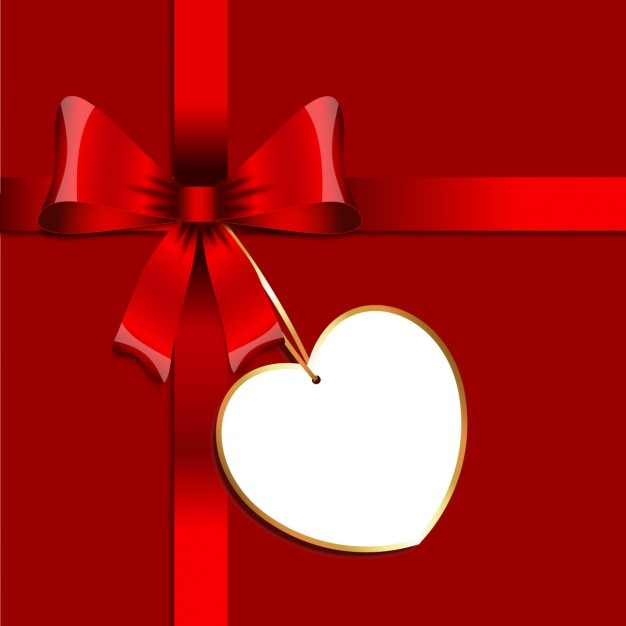 Red bow with a tag background Free Vector