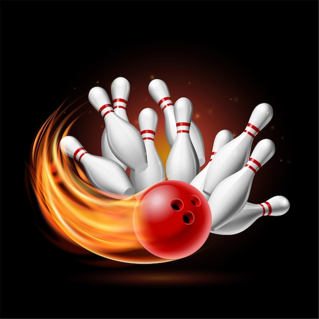 Red bowling ball in flames crashing into the pins on a dark background. illustration of bowling strike.  template for poster of sport competition or tournament. Premium Vector