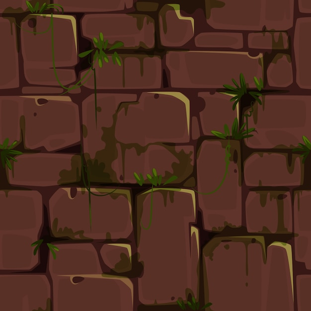 Red brick wall seamless pattern for jungle theme vector Premium Vector