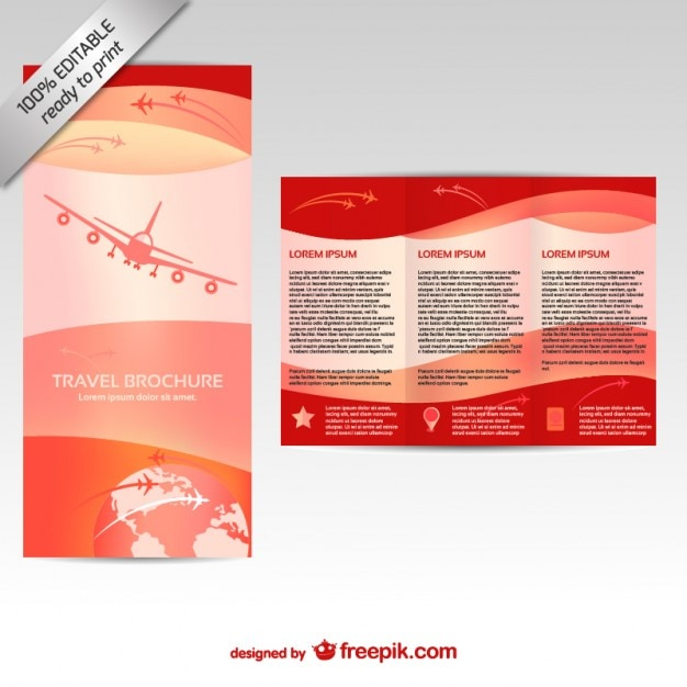 Red brochure template with an airplane Free Vector