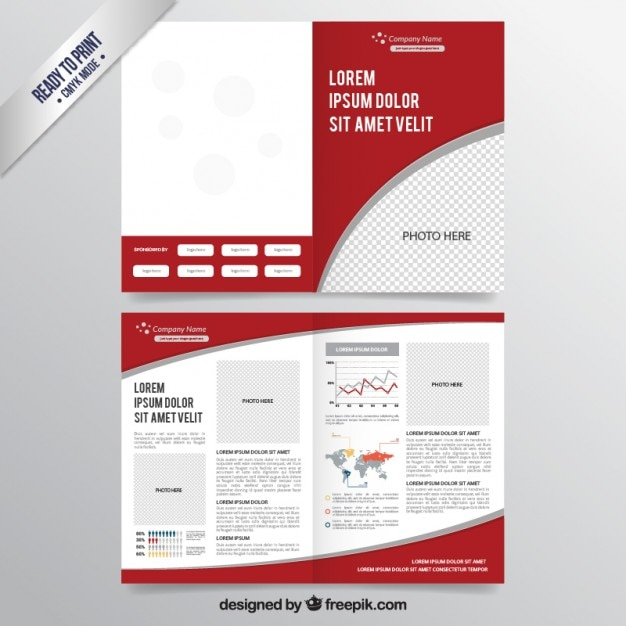 Red brochure template vector free download for Brochure template psd free download