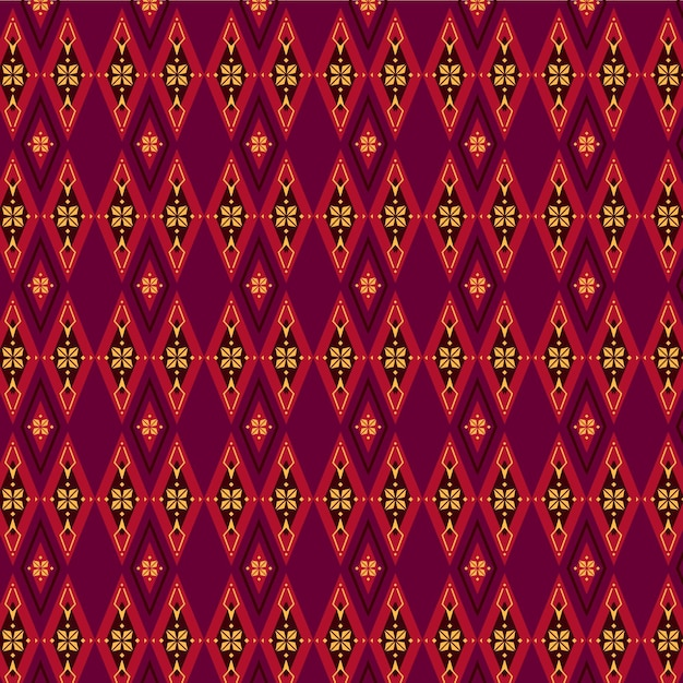 Red and brown songket pattern Premium Vector