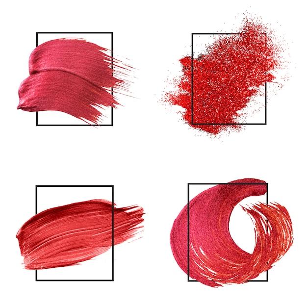 Raccolta di tratti di pennello rosso Vettore gratuito