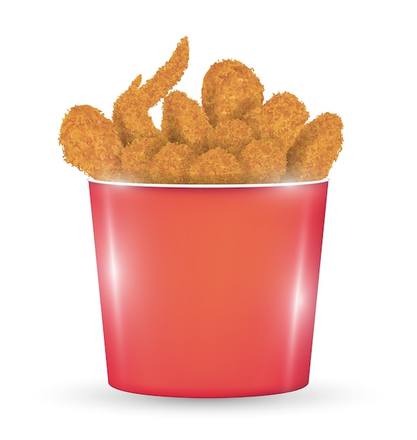 Red bucket full of a fried chicken on a white background Premium Vector