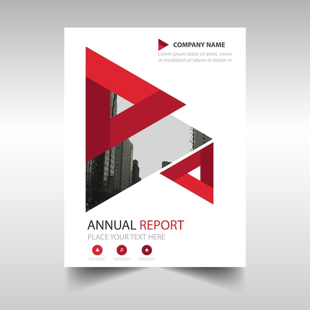 Red business brochure template with geometrical shapes for Red brochure template