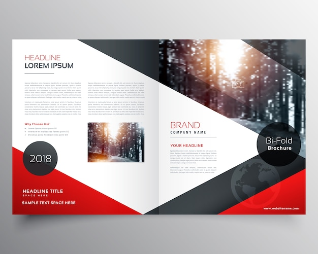 Red business brochure template Free Vector