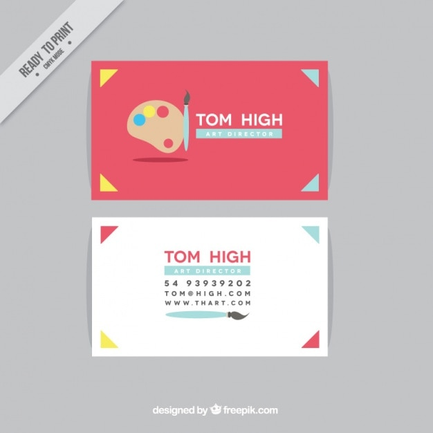 Red business card for art direction Free Vector