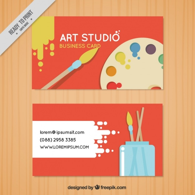 Red Business Card Art Studio Vector Free Download
