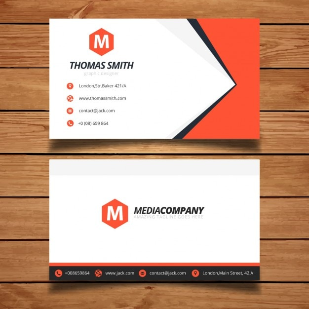 Red business card template design vector free download for Business card design free template