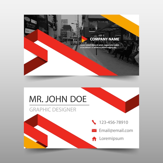 Red Business Card Template Design Vector Free Download