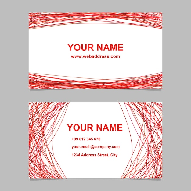 red business card template set vector company illustration with