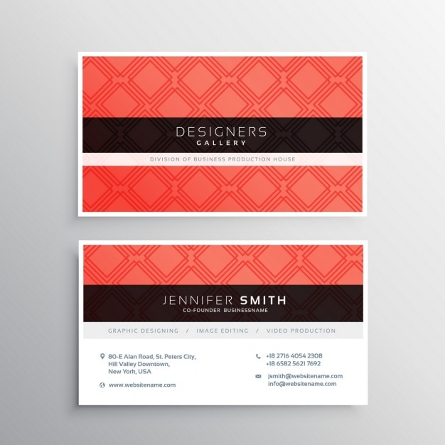 Red business card template vector free download for Red business card template