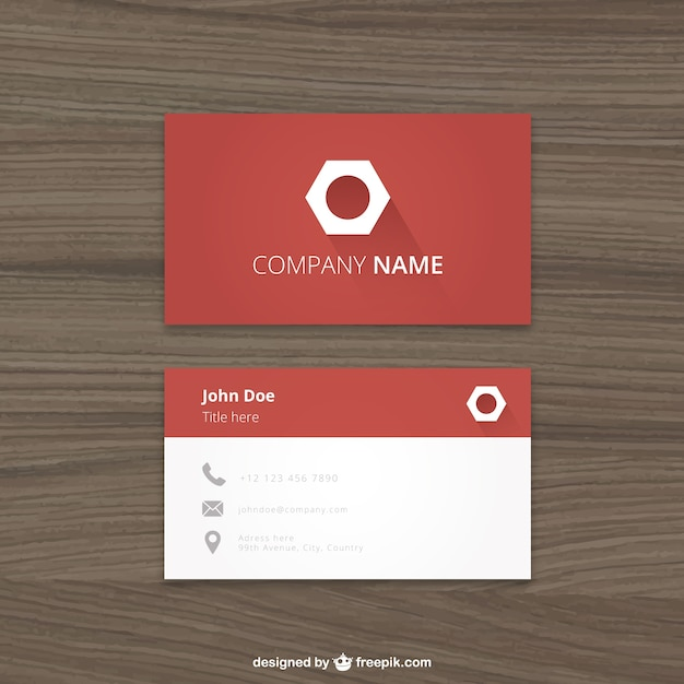 red business card with a hexagonal logo premium vector