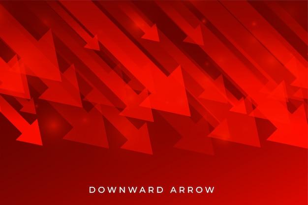 下降傾向を示す赤いビジネスダウンフォール矢印 無料ベクター
